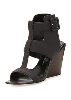 Derek Lam 10 Crosby Campbell Ankle-Wrap Wedge Sandal, Black