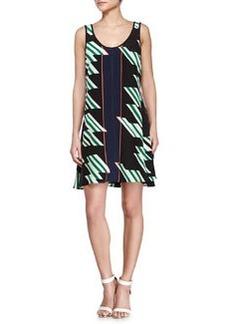 Derek Lam 10 Crosby Crisscross Strappy Printed Dress, Black/Kelly/Midnight