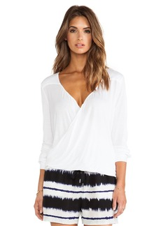 DEREK LAM 10 CROSBY Draped Front Tee on Soft White