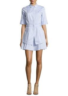 Derek Lam 10 Crosby Half-Sleeve Flare-Skirt Shirtdress