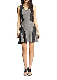 Derek Lam 10 Crosby Knit Tweed Paneled Fit-&-Flare Dress