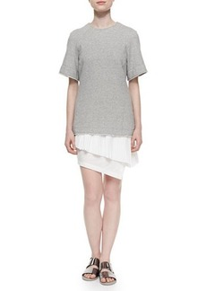 Derek Lam 10 Crosby Knit/Chiffon/Poplin Layered Combo Dress