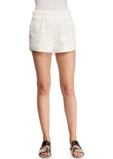Derek Lam 10 Crosby Perforated/Floral-Pattern Boxing Shorts