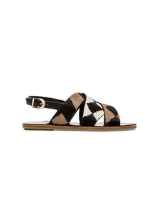 DEREK LAM 10 CROSBY Poet Sandal with Calf Fur
