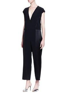 Derek Lam 10 Crosby Short-Sleeve Jumpsuit W/ Side Seam Detail