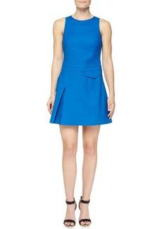 Derek Lam 10 Crosby Side-Pleat Sleeveless Twill Dress
