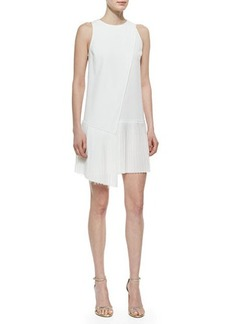 Derek Lam 10 Crosby Sleeveless Dress with Asymmetric Pleated Hem