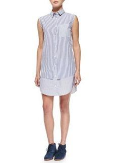 Derek Lam 10 Crosby Sleeveless Shirtdress with Layered Hem