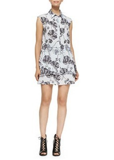 Derek Lam 10 Crosby Sleeveless Shirtdress with Ruffled Bottom