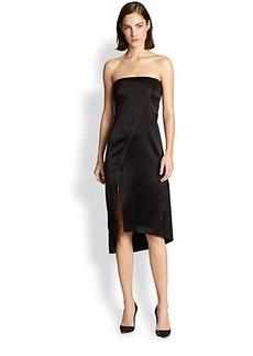 Derek Lam 10 Crosby Strapless Satin Wrap-Effect Dress