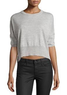 Derek Lam 10 Crosby Striped-Back Cropped Sweater, Light Gray