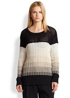 Derek Lam 10 Crosby Striped Cashmere & Cotton Open-Knit Sweater