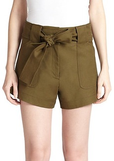 Derek Lam 10 Crosby Tie-Waist Stretch-Cotton Cargo Shorts