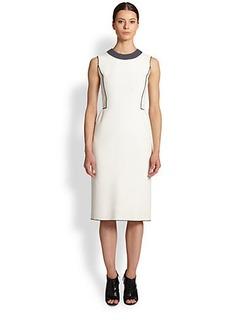 Derek Lam Bonded Crepe Contrast Dress