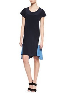 Derek Lam Handkerchief Hem Cap-Sleeve Dress, Navy/Ivory