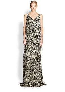 Derek Lam Leopard-Print Silk Gown