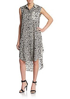 Derek Lam Leopard Print Silk Shirtdress