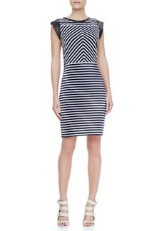 Derek Lam Sheath Dress with Leather Cap Sleeves, Navy/White