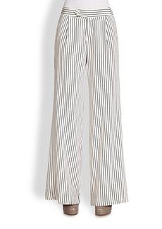 Derek Lam Silk Stripe Trousers
