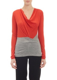 Derek Lam Softly Draped Cowl-Neck Pullover Sweater