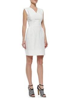 Derek Lam V-Neck Poplin Dress with Crisscross Back, White
