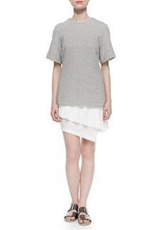 Knit/Chiffon/Poplin Layered Combo Dress   Knit/Chiffon/Poplin Layered Combo Dress