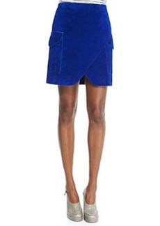 Nubuck Short Cargo Skirt with Notched Hem   Nubuck Short Cargo Skirt with Notched Hem