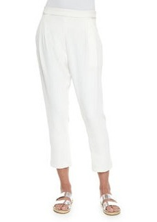 Pleated Cropped Track-Pant Trousers   Pleated Cropped Track-Pant Trousers