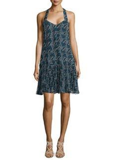 Printed Pleated-Hem Silk Dress   Printed Pleated-Hem Silk Dress