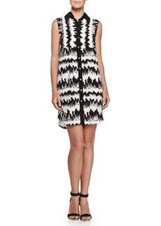 Printed Sleeveless Shirtdress, Black/White   Printed Sleeveless Shirtdress, Black/White