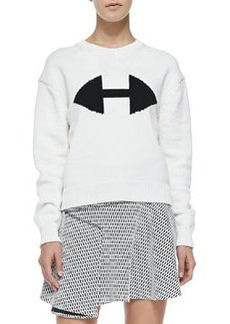 Ribbed Crewneck Sweater W/ Arrow Detail   Ribbed Crewneck Sweater W/ Arrow Detail