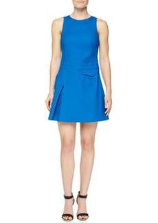 Side-Pleat Sleeveless Twill Dress   Side-Pleat Sleeveless Twill Dress