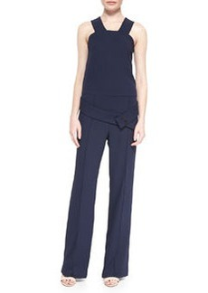 Sleeveless Belted Crepe Jumpsuit   Sleeveless Belted Crepe Jumpsuit