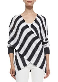 Striped Cross-Front Pullover Sweater   Striped Cross-Front Pullover Sweater