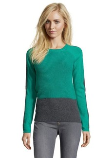 Design History alpine green ribbed cashmere colorblock crewneck sweater