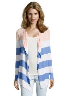 Design History apricot combo cotton blend knit striped open front cardigan