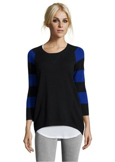 Design History black and blue stripe lace stitch side panel stretch long sleeve sweater