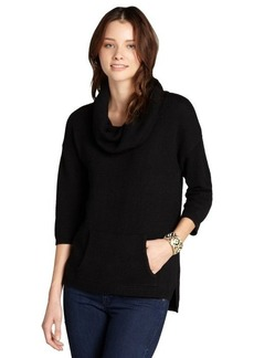 Design History black cashmere cowl neck 3/4 sleeve sweater