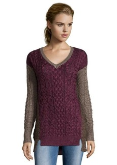 Design History bordeaux heather wool blend cable knit colorblock sweater