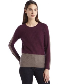 Design History bordeaux ribbed cashmere colorblock crewneck sweater