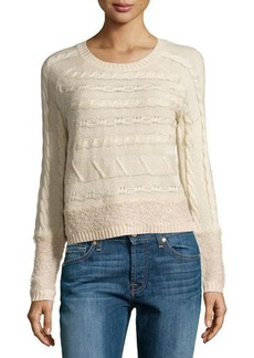 Design History Cable & Looped Knit Crop Sweater
