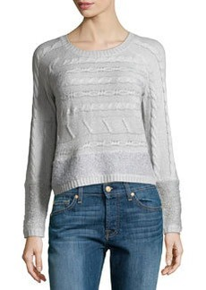 Design History Cable & Looped Knit Crop Sweater, Moonbeam Heather Gray