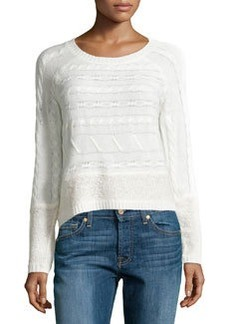 Design History Cable & Looped Knit Crop Sweater, Winter White