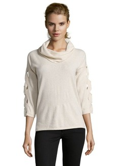 Design History canvas heather cashmere knit lattice detail cowl neck sweater