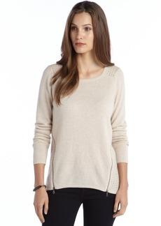 Design History canvas heather cashmere open knit back zipper detail sweater