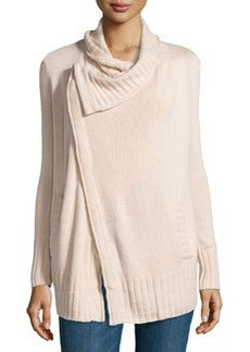 Design History Cashmere-Blend Crossover Cardigan, Canvas Heather
