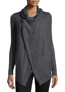 Design History Cashmere-Blend Crossover Cardigan, Storm Gray