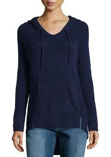 Design History Cashmere-Blend Mixed-Knit Hooded Sweater, Night Sky