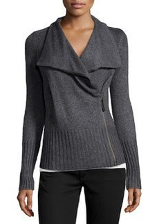 Design History Cashmere-Blend Moto Cardigan, Storm Gray