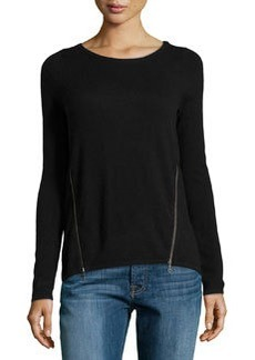 Design History Cashmere-Blend Zip-Detailed Sweater, Black